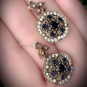 MIDNIGHT SAPPHIRE FINE ART EARRINGS Solid 925/Gold